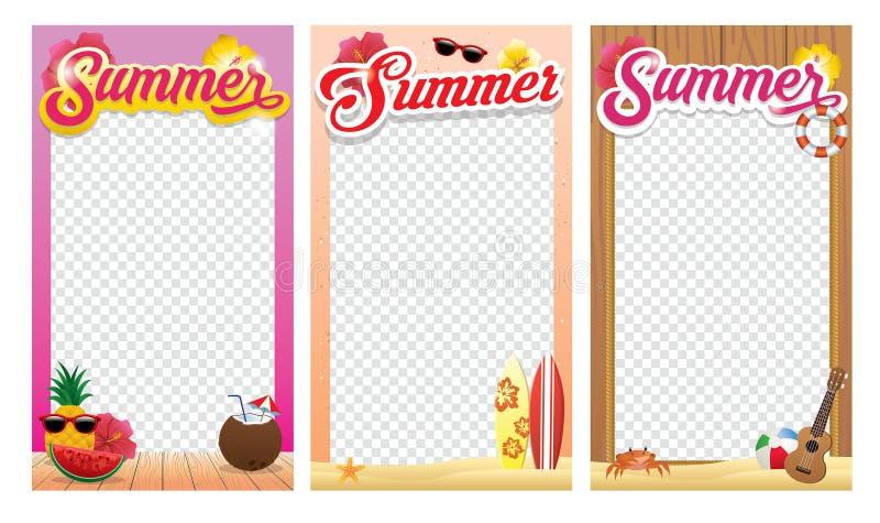 De ontwerpset van het het kaderthema van de de zomerfoto royalty-vrije illustratie