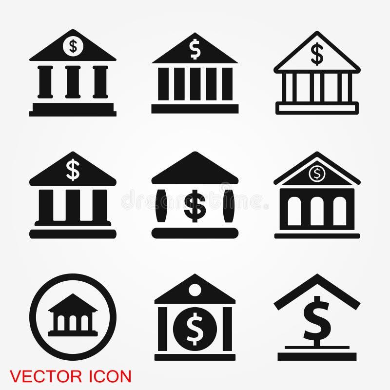 De ontwerpsjabloon van het bankpictogram Vectorpictogram, symbool stock foto's
