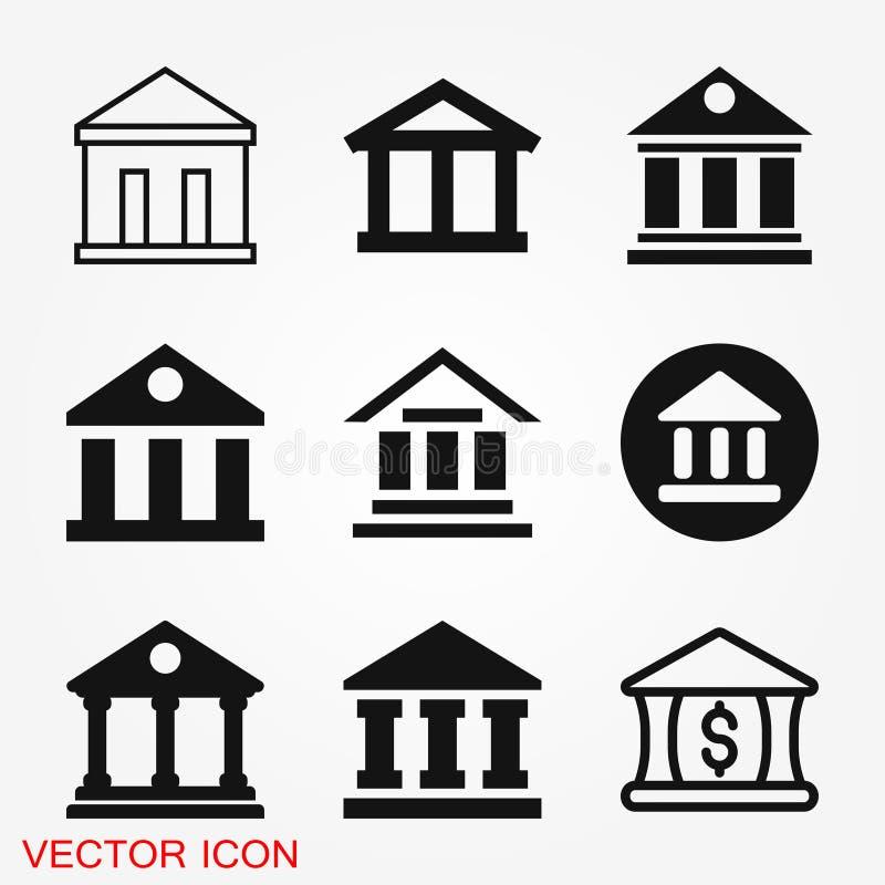 De ontwerpsjabloon van het bankpictogram Vectorpictogram, symbool royalty-vrije stock fotografie