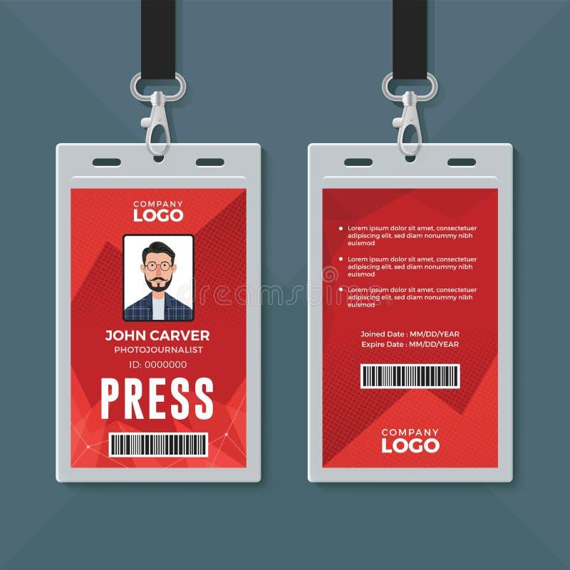 De ontwerpsjabloon van het persidentiteitskaart vector illustratie