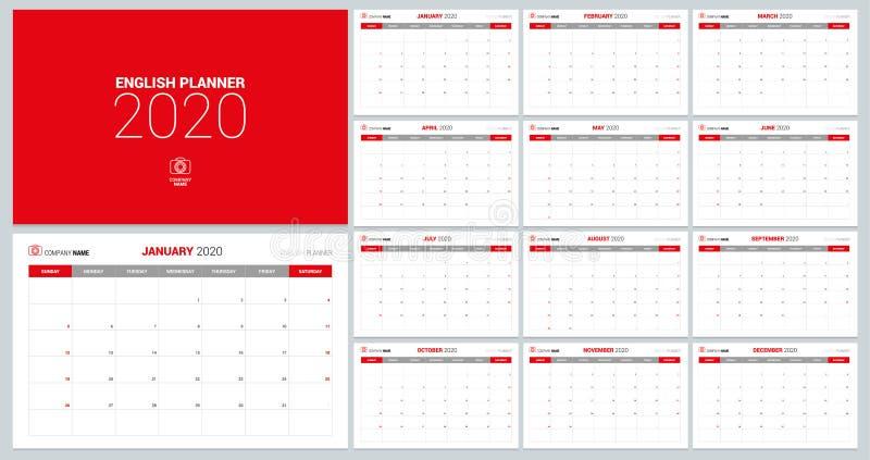de ontwerpsjabloon van de de kalenderontwerper van 2020 stock illustratie