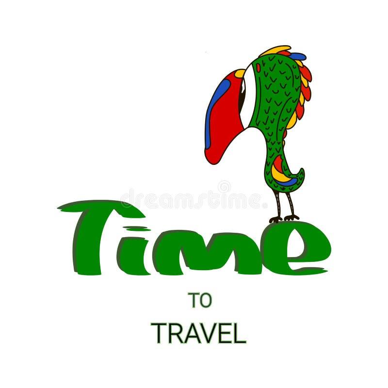 De ontwerpsjabloon van de reisaffiche met promotekst op witte achtergrond Vector illustratie royalty-vrije illustratie