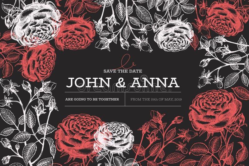 De ontwerpsjabloon van rozenbloemen Hand getrokken vectorillustraties op schoolbord Botanische retro achtergrond Het frame van de royalty-vrije illustratie