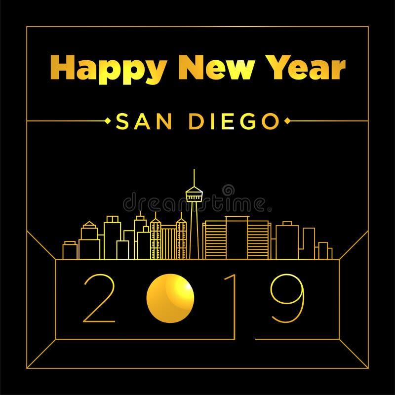 De Ontwerpsjabloon van San Diego City New Year Card stock illustratie