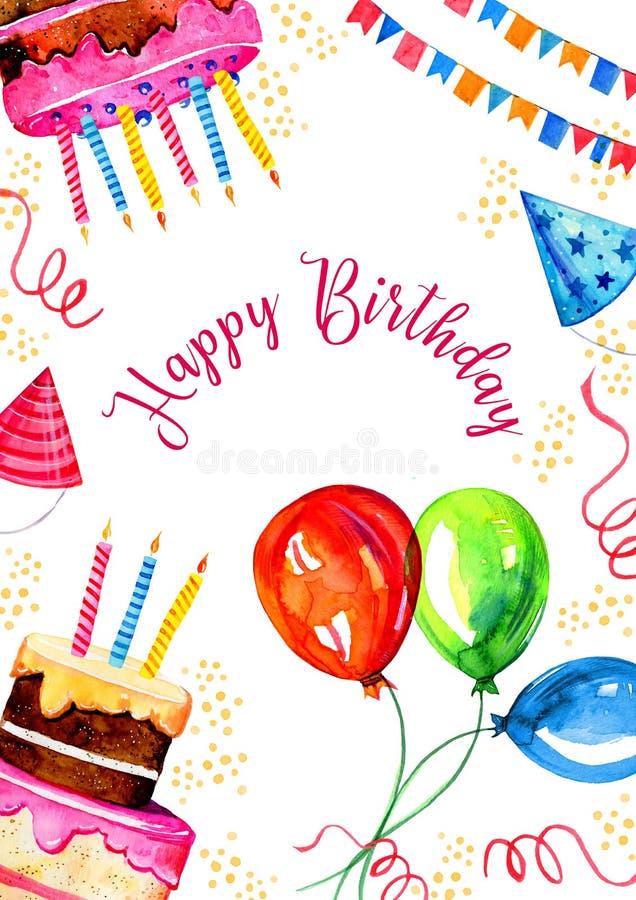 De ontwerpsjabloon van de verjaardagskaart met cakes, decoratie, vlaggen en ballons met groet De hand getrokken schets van de bee stock illustratie