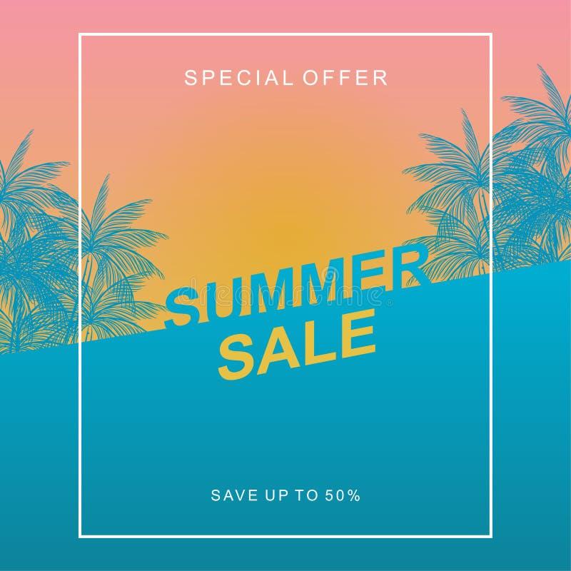 De ontwerpsjabloon van de de zomerverkoop met zonsondergang tropische strand en kokospalmen vector illustratie