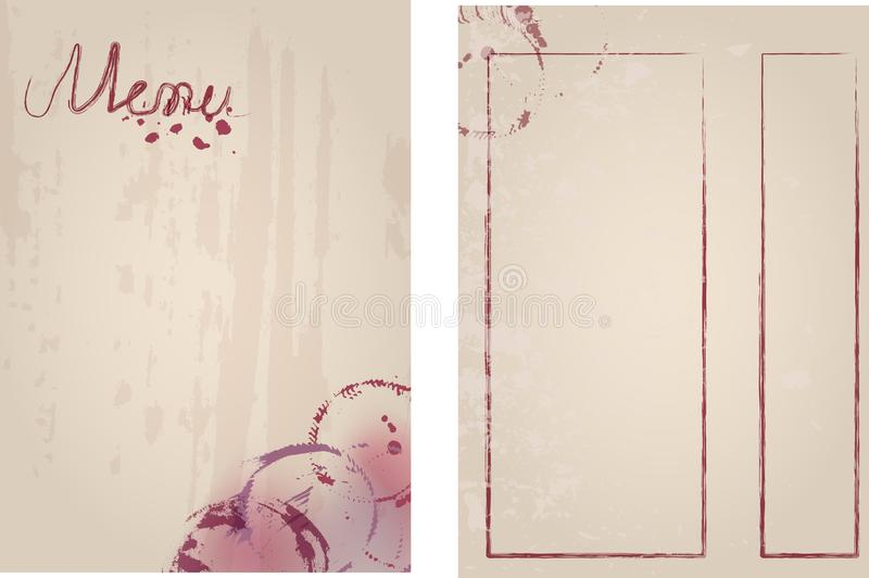 De ontwerpsjabloonmodel van het restaurantmenu voor print out, vrije exemplaar ruimte, grungy vector vector illustratie