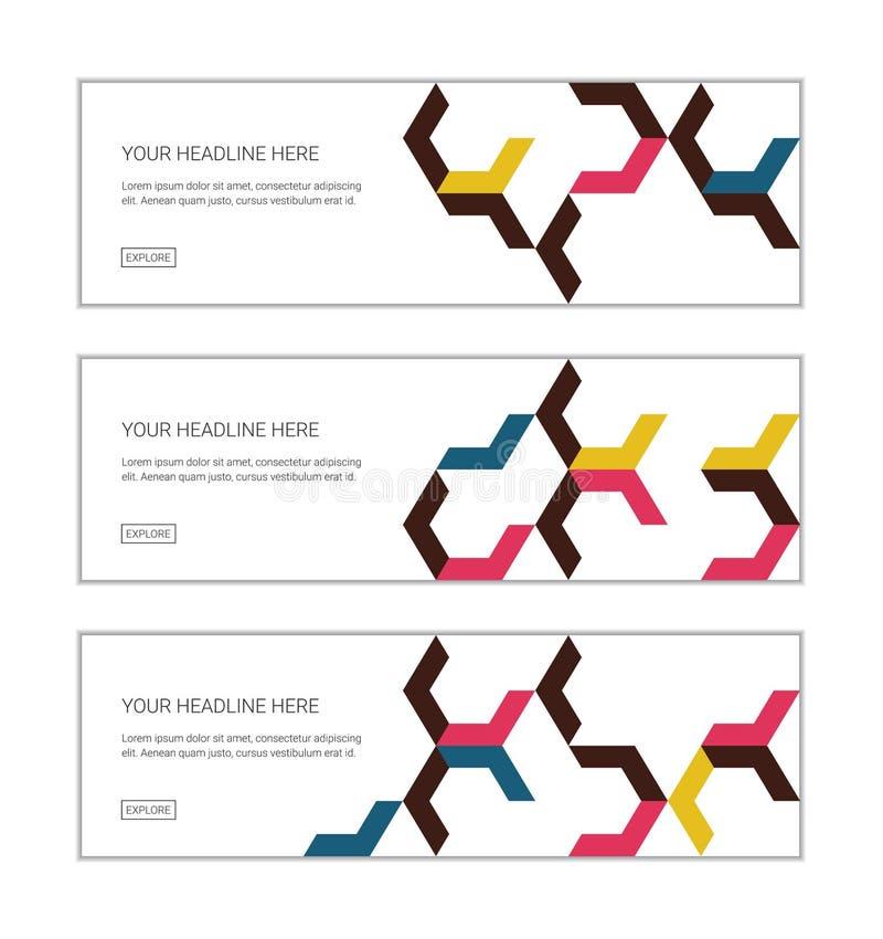 De de ontwerpsjabloonreeks die van de Webbanner uit abstracte patronen bestaan als achtergrond maakte met chevron/pijlvormen stock illustratie