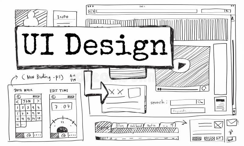 De ontwerpwebsite leidt tot het Concept van de Malplaatjelay-out vector illustratie