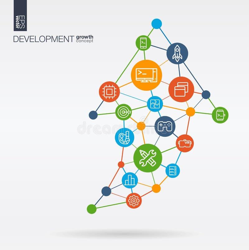 De ontwikkeling integreerde dunne lijnpictogrammen De groei, de vooruitgang en het succes van de grafiekgrafiek in pijl op vorm D royalty-vrije illustratie