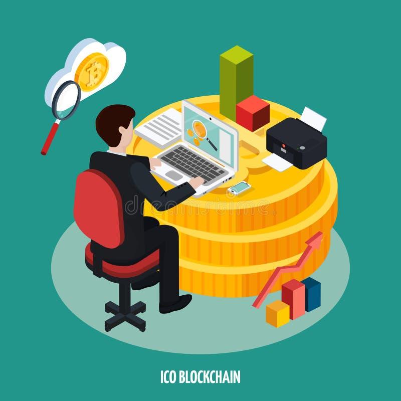 De Ontwikkelings Isometrische Samenstelling van ICO Blockchain vector illustratie