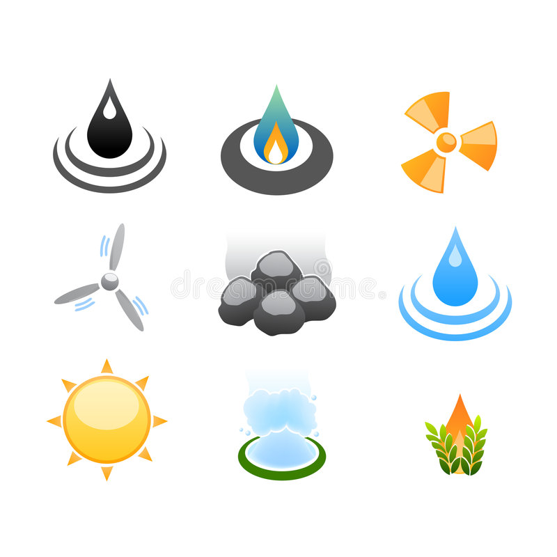 De ontwikkelings van de bron energie pictogrammen stock illustratie