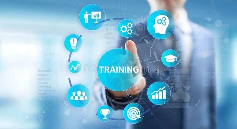 De Ontwikkelingsmotivatie van Webinar van het opleidings Online Onderwijs Persoonlijk e-Lerende Bedrijfsconcept op het virtuele s stock foto