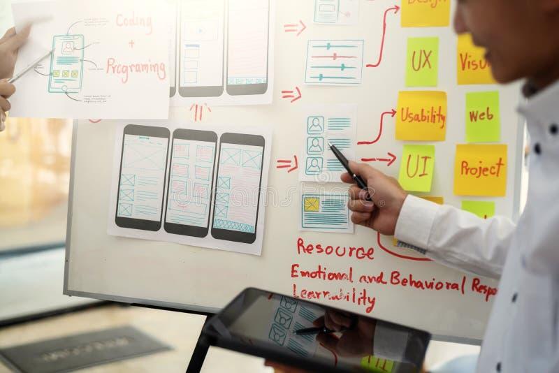 De ontwikkelingsui/ux ontwerp van de websiteontwerper over het geschetste mobiele toegepaste project van de nota's wireframe lay- stock afbeelding