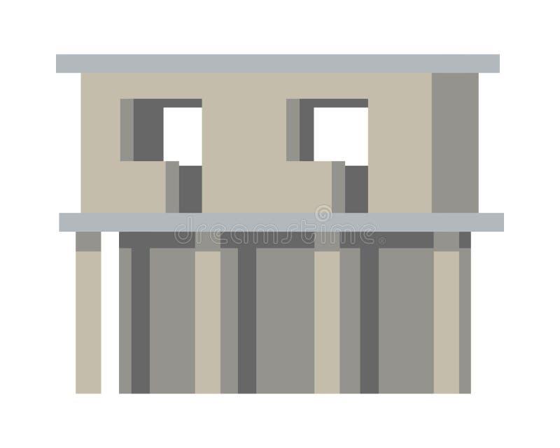 De onvolledige bouw Zonder Deuren en Vensters vector illustratie