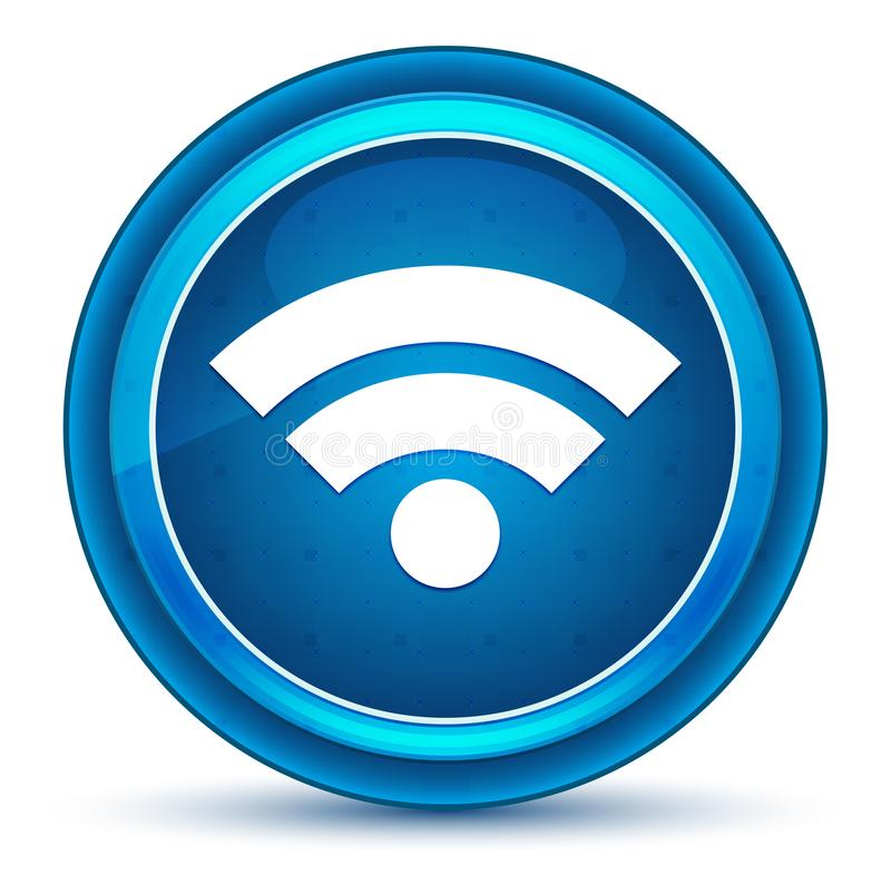 De oogappel blauwe ronde knoop van het Wifipictogram vector illustratie