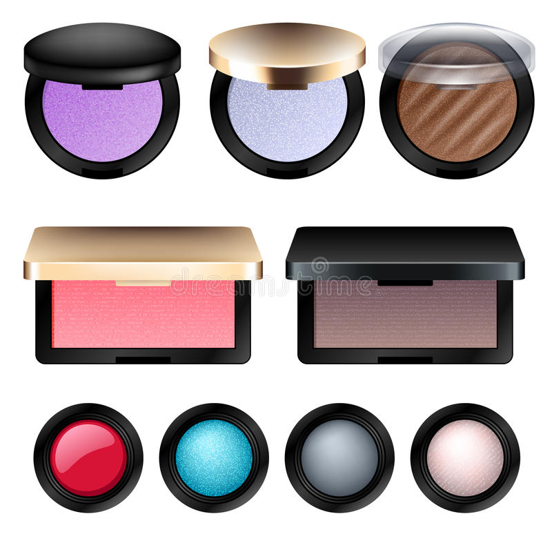 De oogschaduw en bloost geplaatste cosmetischee producten vector illustratie