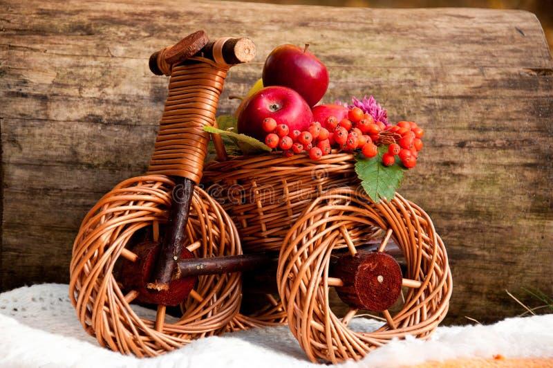 De oogst van de herfst in een rieten fiets royalty-vrije stock afbeelding