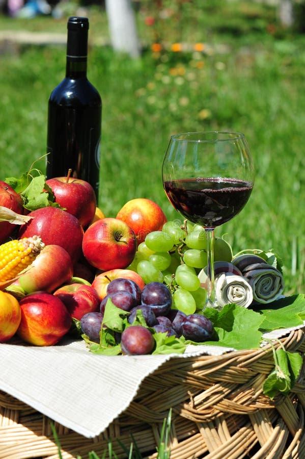 De oogst van de herfst: seizoengebonden vruchten en rode wijn stock foto's
