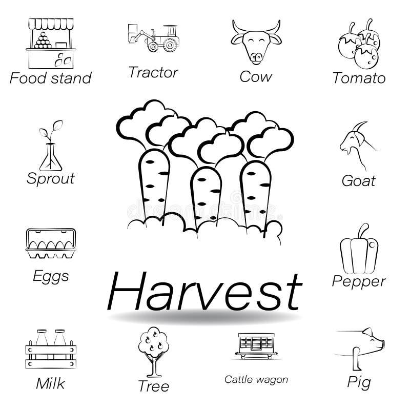 De oogsthand trekt pictogram Element van de landbouw van illustratiepictogrammen De tekens en de symbolen kunnen voor Web, emblee royalty-vrije illustratie