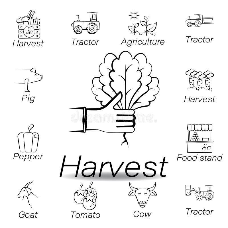 De oogsthand trekt pictogram Element van de landbouw van illustratiepictogrammen De tekens en de symbolen kunnen voor Web, emblee stock illustratie