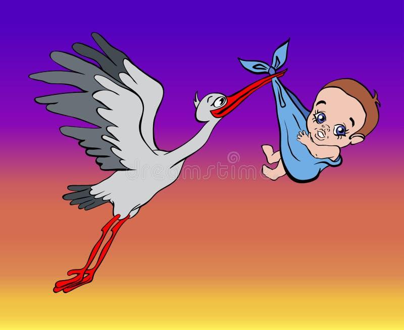 De ooievaar brengt de baby in de hemel royalty-vrije illustratie