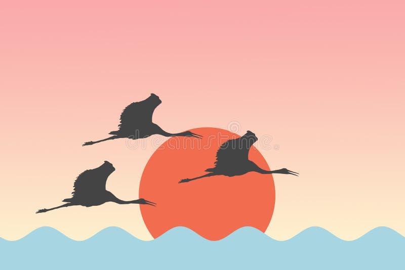 De Ooievaars die van vogelskranen vóór Zon over de van de overzeese Achtergrond meerillustratie vliegen royalty-vrije illustratie