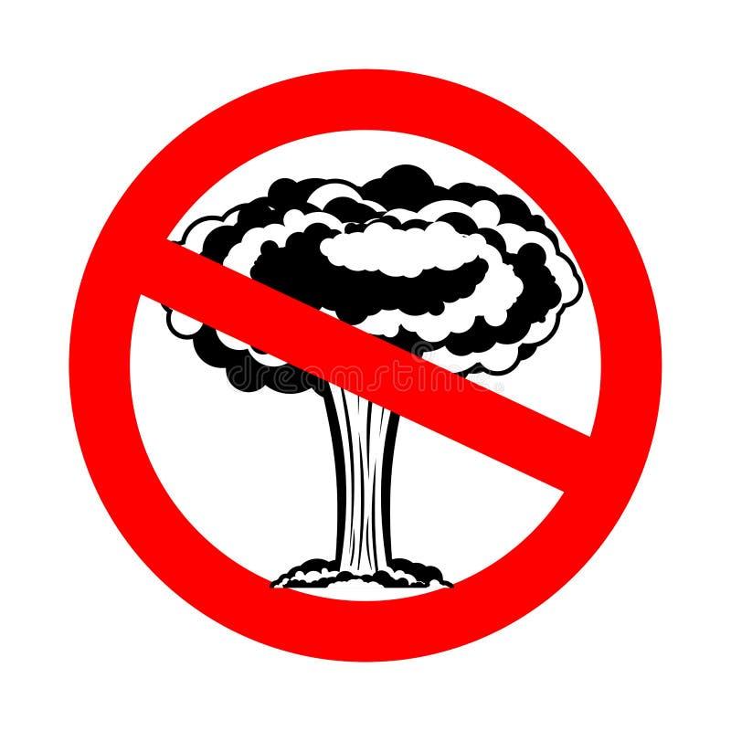 De oorlog van het einde De kernexplosie is belemmerd Rood verbodsteken royalty-vrije illustratie