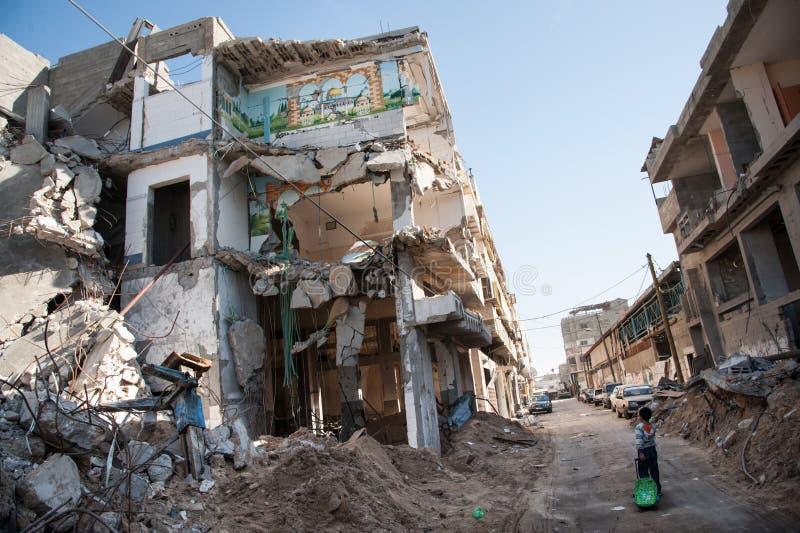 De oorlogsschade van Gaza royalty-vrije stock afbeeldingen