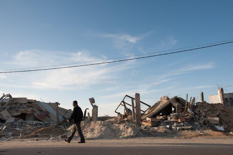 De oorlogsschade van Gaza stock foto's