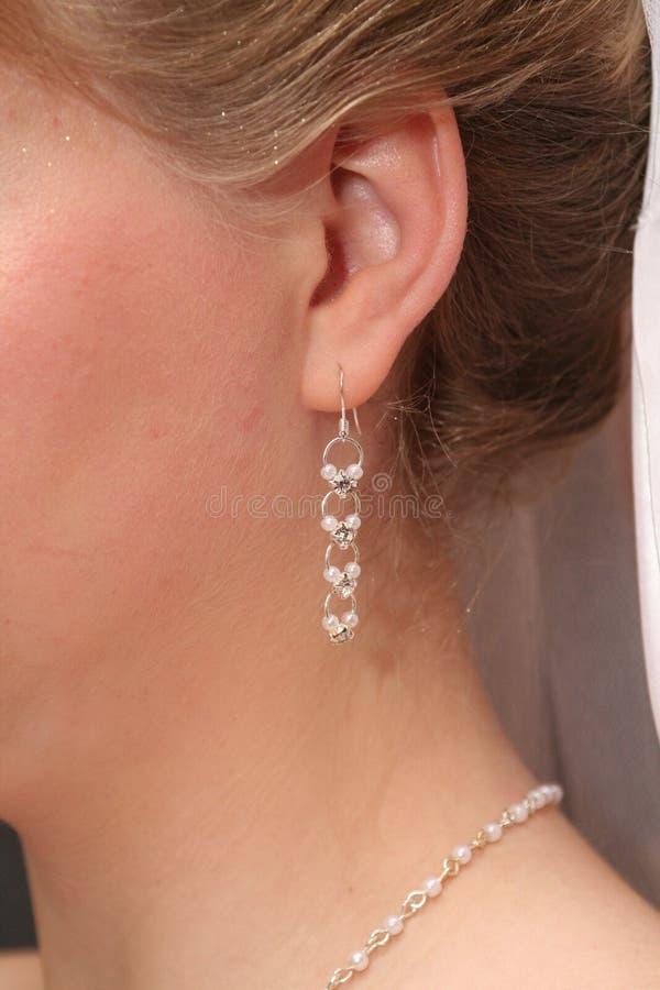 De oorring van de bruid `s stock foto