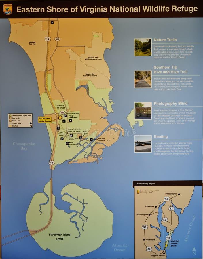 De oostelijke kaart van het het wildtoevluchtsoord van kustvirginia nationale stock foto