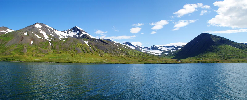 De oostelijke kustlijn van panoramaskagafjordur in Noordelijk IJsland met sneeuwbergen op de achtergrond stock foto's