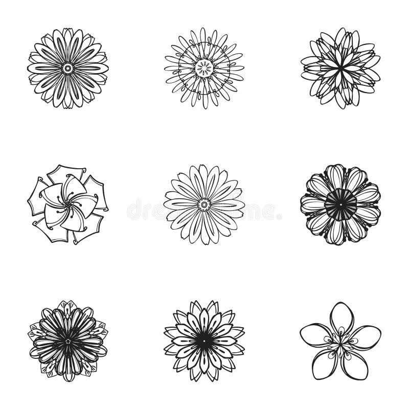De oosterse reeks van het bloempictogram, eenvoudige stijl royalty-vrije illustratie