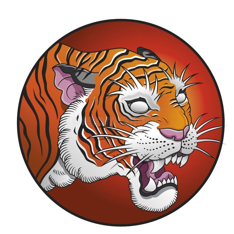 De oosterse vectorillustratie van de tijgercirkel royalty-vrije stock fotografie