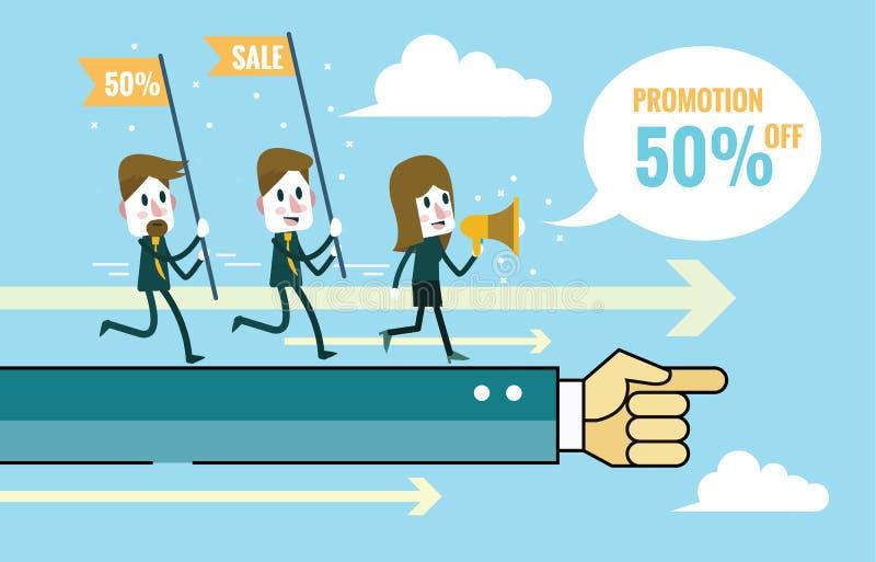 De op de markt brengende Teams gaan op handbevel door Groepswerk en Marketing planconcept royalty-vrije illustratie
