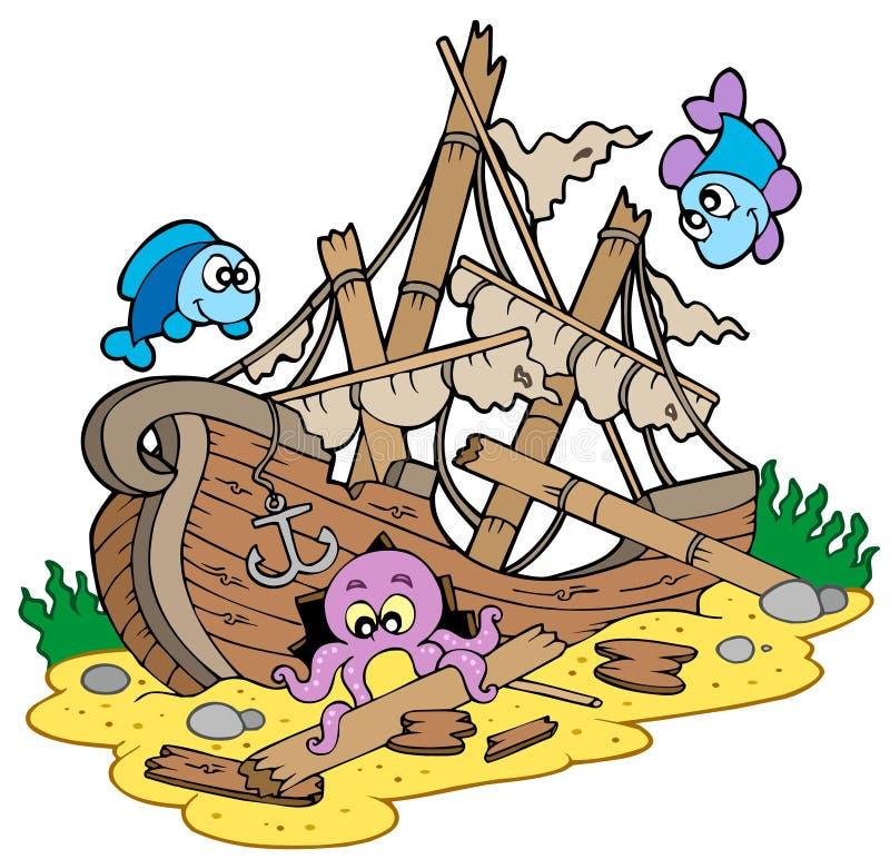 De op zee bodem van de schipbreuk vector illustratie