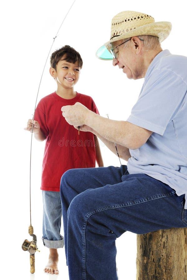 De opa en me gaan vissend stock foto