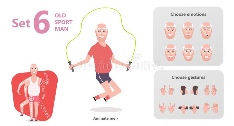 De opa is touwtjespringen Gymnastiek voor de bejaarden vector illustratie