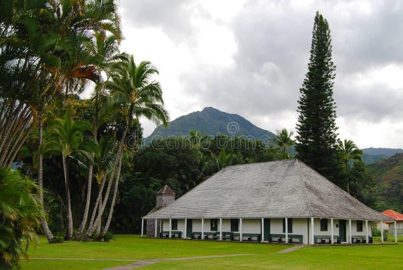 De Opdracht Hall Hanalei Kauai, de Kerkbouw, oriëntatiepunt van Waiolihuiia stock foto's