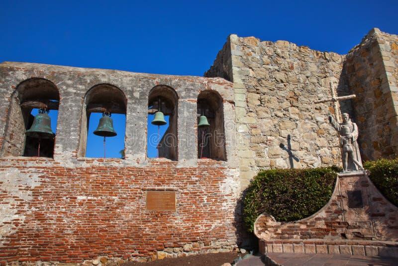 De Opdracht San Juan Capistrano van het Standbeeld van Serra van de vader stock afbeelding