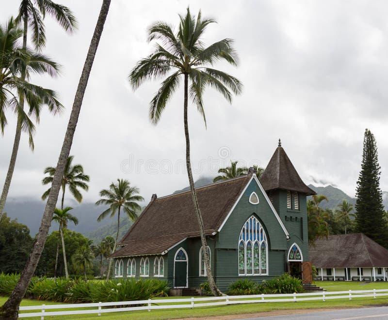 De Opdrachtkerk van Waiolihuiia in Hanalei Kauai stock fotografie