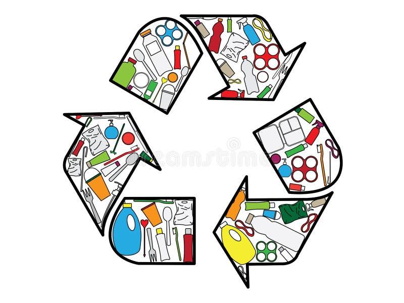 De opeenhoping van het recyclingsembleem van plastic producten stock illustratie