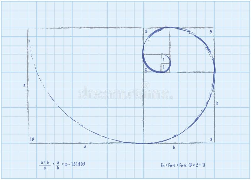 De Opeenvolging van Fibonacci - Gouden Spiraalvormige Schets stock illustratie