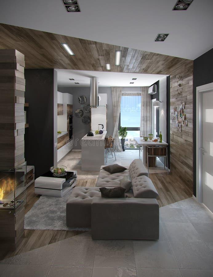 De open 3D Conceptenkeuken en Woonkamer, geven terug stock illustratie