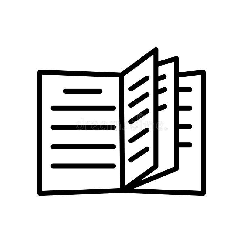 De open die vector van het boekpictogram op witte achtergrond, Open boekteken, de lineaire symbool en elementen van het slagontwe royalty-vrije illustratie