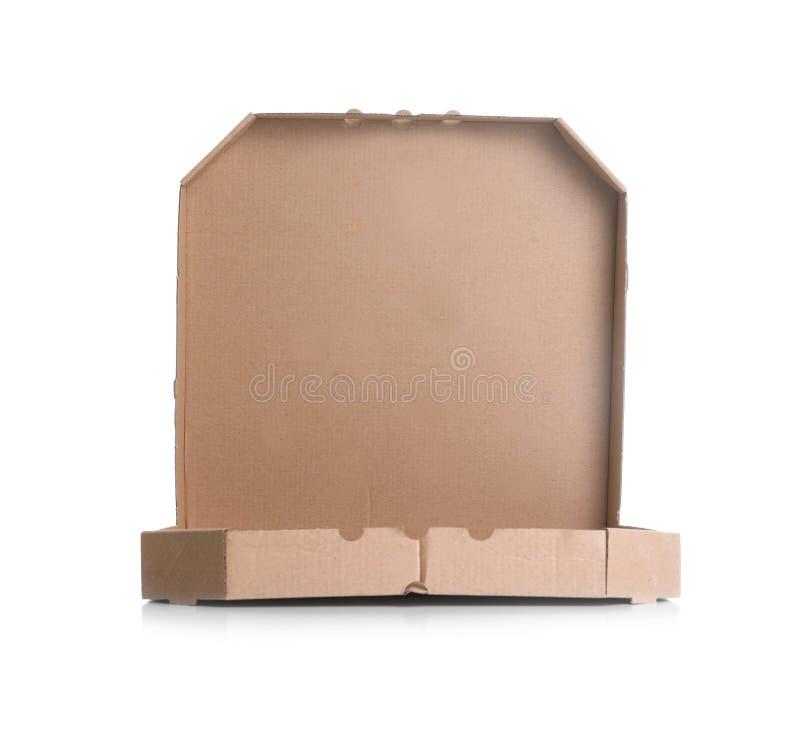 De open doos van de kartonpizza op wit Model voor ontwerp royalty-vrije stock afbeelding