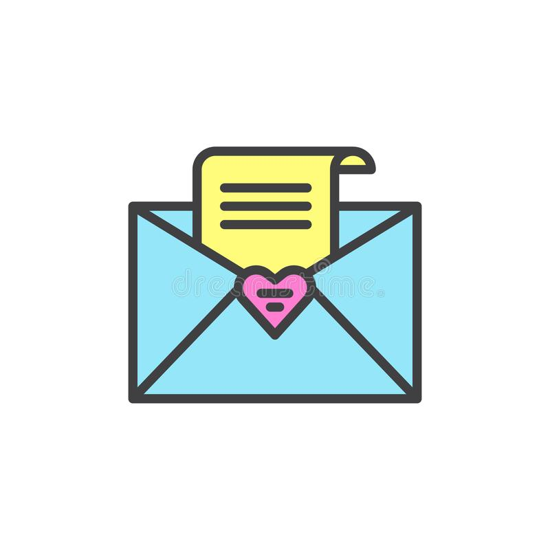 De open envelop met ontvangen bericht vulde overzichtspictogram stock illustratie