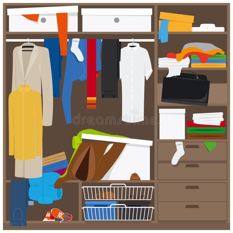 De open garderobe met knoeit kleren royalty-vrije illustratie