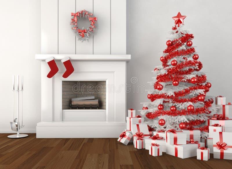De open haardwit en rood van Kerstmis royalty-vrije illustratie